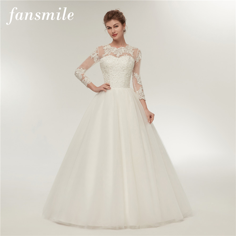 Fansmile Real Photo Long Sleeve Vintage Lace Wedding Dresses 2019 Plus Size Princess Bridal Ball Gowns Free Shipping FSM-156F