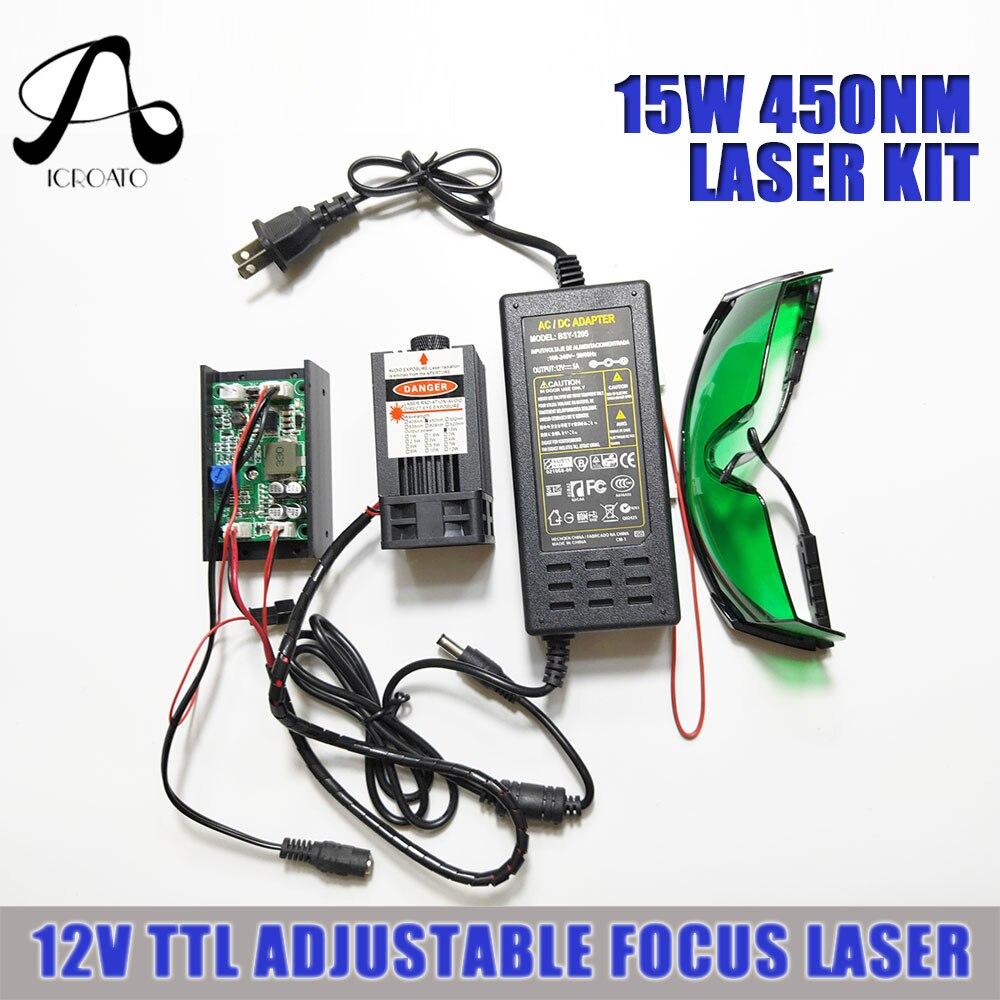 15000 mw Laser 450nm Laser réglable 5A 12 V DC TTL Module Laser avec ventilateur dissipateur 15 w kit Laser pour la gravure et la coupe