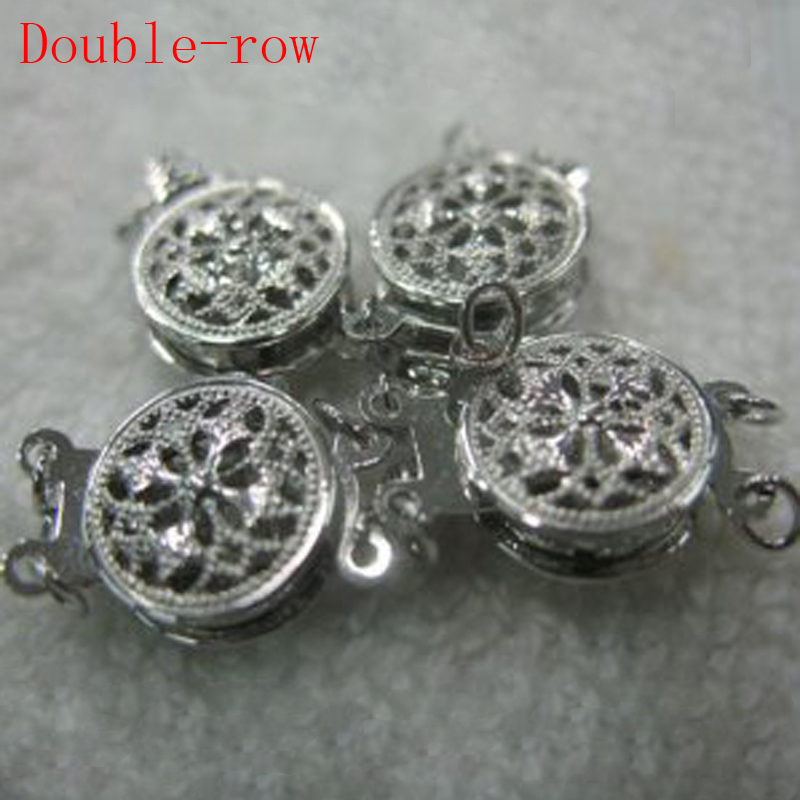 10 mm Double Row Two Face 14K White Solid Gold Clasp10 mm Double Row Two Face 14K White Solid Gold Clasp