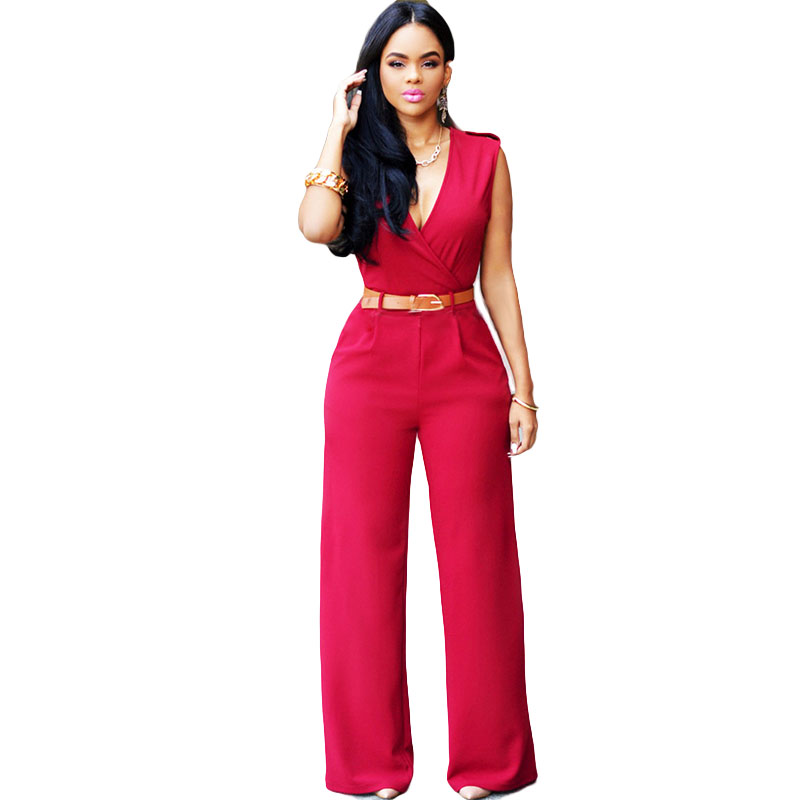 HMCHIME 2017 European style women jumpsuits deep v neck sleeveless wide leg pants romper ...