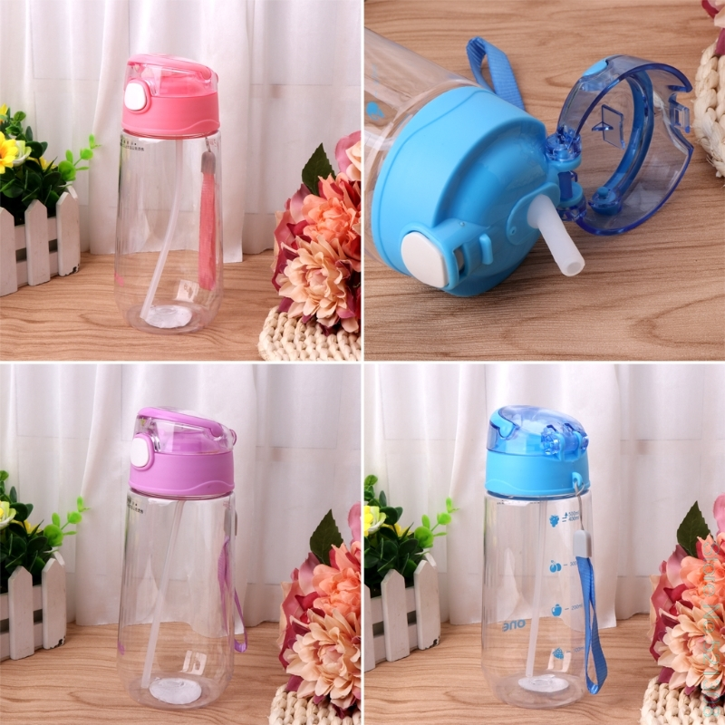 500ML Baby Kids Children Portable Feeding Drinking Water Bottle Cup With Straw Drop Ship