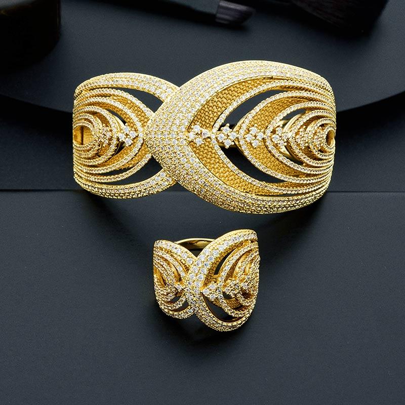 все цены на ModemAngel Luxury Special Leaf AAA Cubic Zirconia Women Engagement Party Gift Bracelets Bangle And Ring Set
