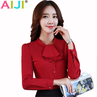 AIJI 2017 Spring Summer Ladies Long Sleeve Blouse Women Chiffon Ruffles Work Office Hotels Elegant Formal
