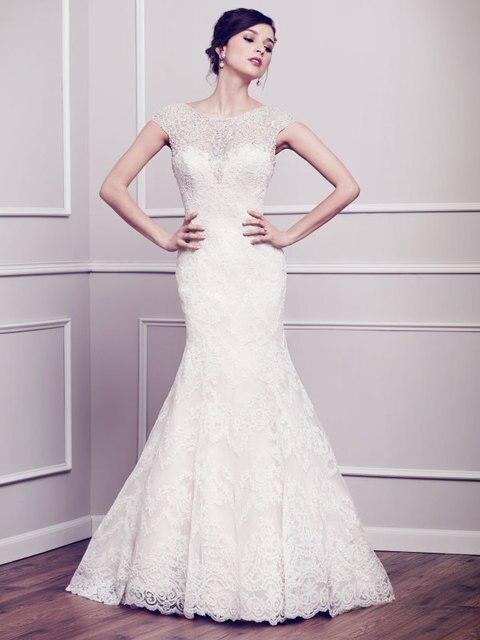 Style espagnol robes De mariée Sexy Backless sirène Robe De Mariage Top en  dentelle col haut