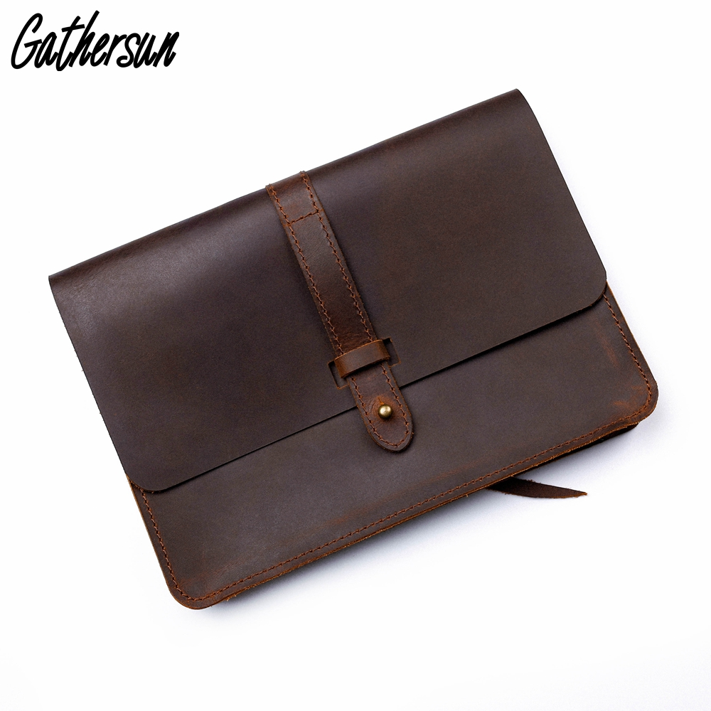 Gathersun Leather Bag for iPad 7.9' 9.7' 12.9' Vintage Crazy Horse Leather Clutch Laptop Bag 13.3' Computer Protective Case цена и фото