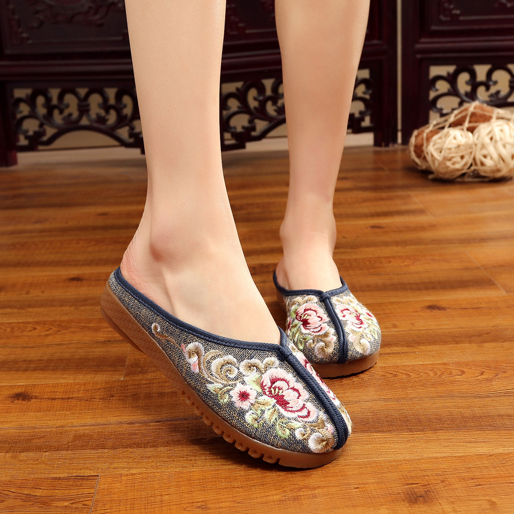Plus Size 41 Fashion Women Shoes, Old Beijing Slippers Flats With Casual Shoes, Chinese Style Embroidered Cloth shoes woman vintage women flats old beijing mary jane casual flower embroidered cloth soft canvas dance ballet shoes woman zapatos de mujer