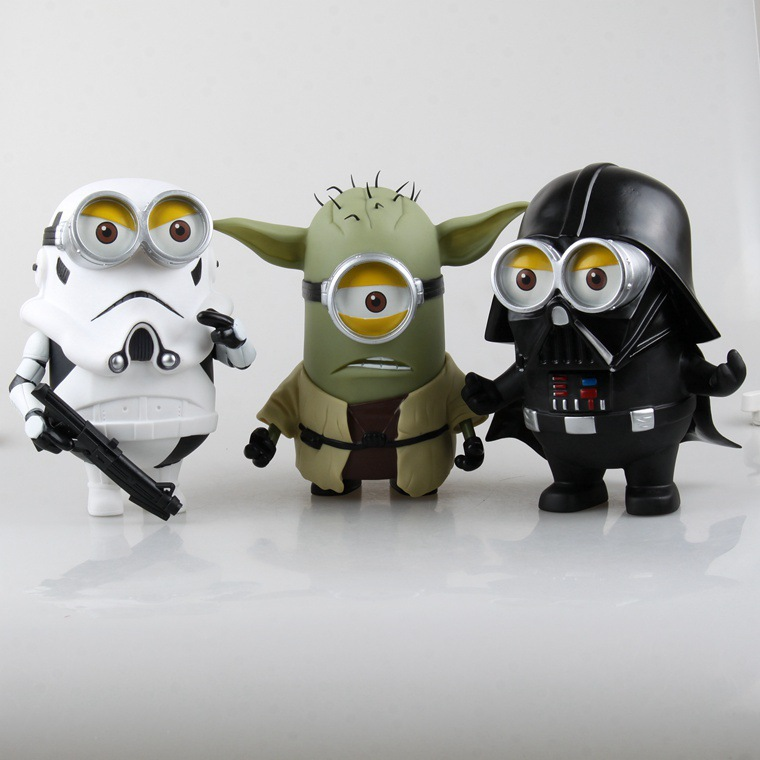 ФОТО free shippin despicable me Star Wars action figure White pawns yellow people The black knight Yoda milk yellow people models