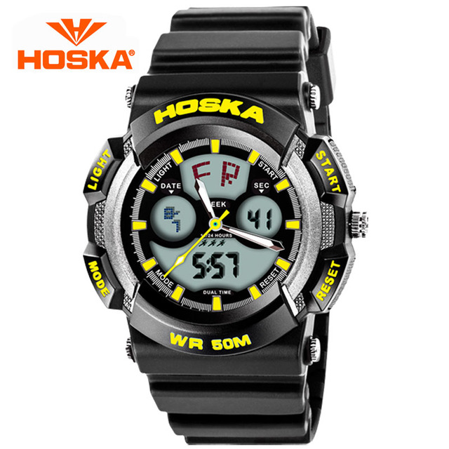 HOSKA Outdoor Sports Watches Luminous Waterproof Digital Watches Men LED Students Versatile