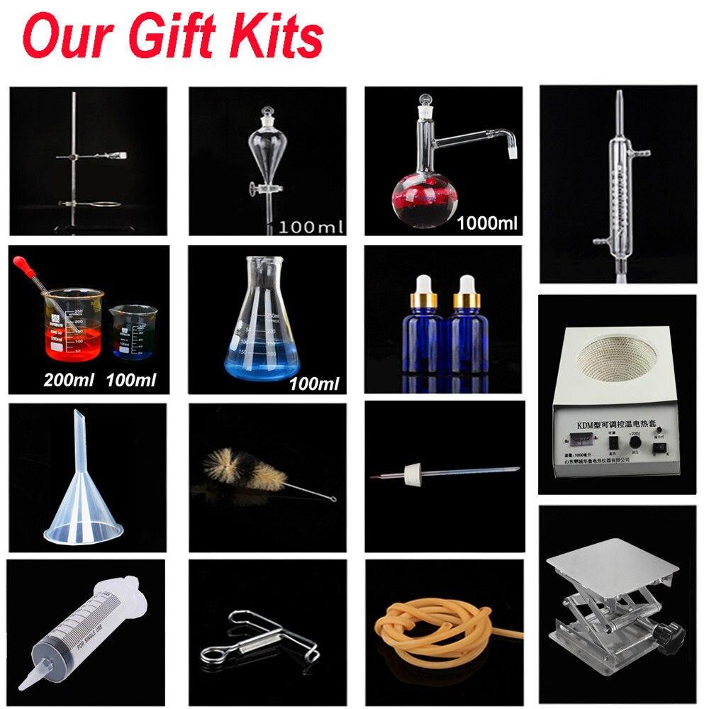 23 pièces nouveau 1000ml laboratoire appareil de Distillation huile essentielle eau Pure distillateur verrerie Kits w/Thermostat chauffage boîte de stockage - 6