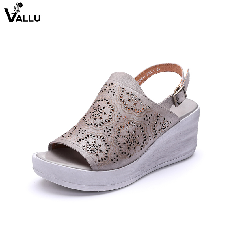 Slingback Shoes Woman 2018 Natural Leather Lady Sandals Handmade Fretwork Back Strappy Cool Female Wedge Shoes