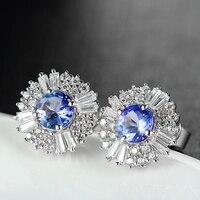 925 En Argent Sterling Boucles D'oreilles Naturel Bleu Tanzanite Diamant Fine Bijoux De Tournesol Forme Femmes Oreille Goujons De Noël Cadeau