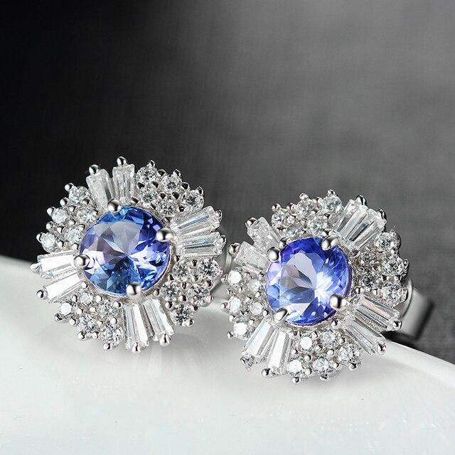 925 Sterling Silver Stud Earrings Natural Blue Tanzanite Diamond Fine Jewelry Sunflower Shape Women Ear Studs