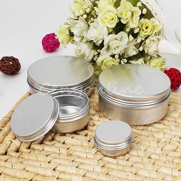 10pcs 50ml Empty Aluminium Cosmetic Pot Lip Balm Jar Tin Containers Screw Lid For Cream Ointment Hand Cream Storage Tool Parts