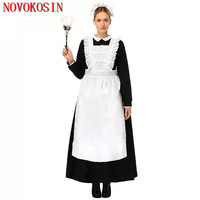 YQ114 S 3XL 2018 Black With White Maid Costumes Role Playing Empregada Plus Size Women Servant Cotton Long Pinafore Dress