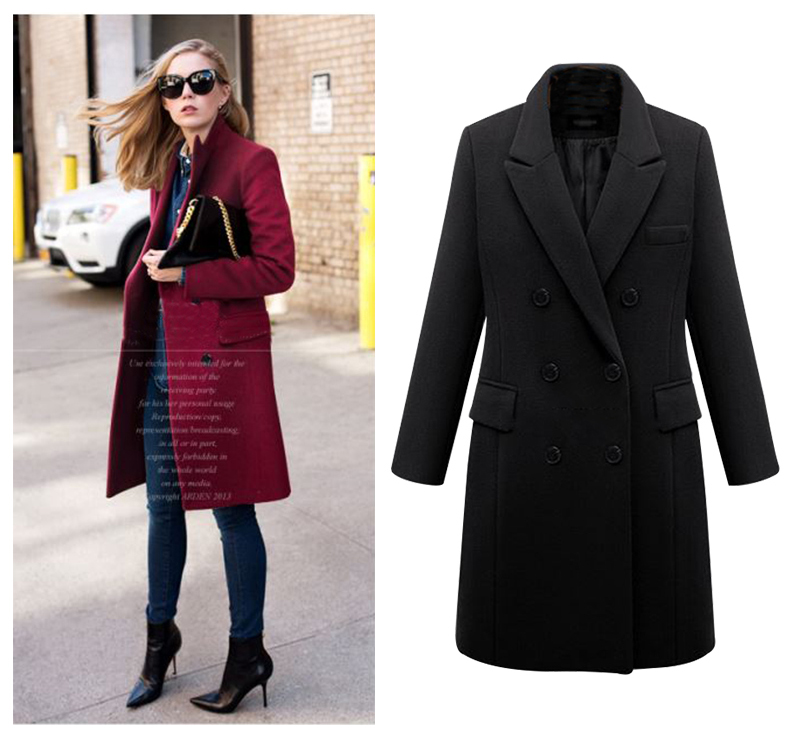 2016 European Women Autumn Winter Coat High Quality Woolen Coat Solid Color Elegant Casual Wool Big Yards Coat Plus Size 5XL (9)