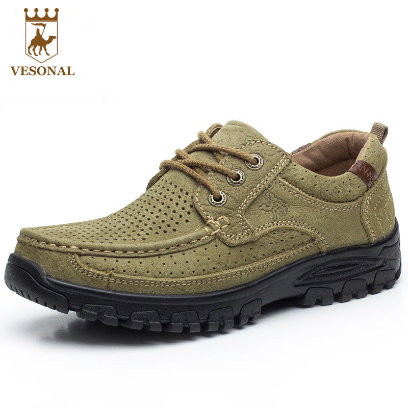 VESONAL Comfortable Breathable Brand Shoes Men Ons Casual Style Walking High Quality Chaussure Homme Genuine Leather Soft Man