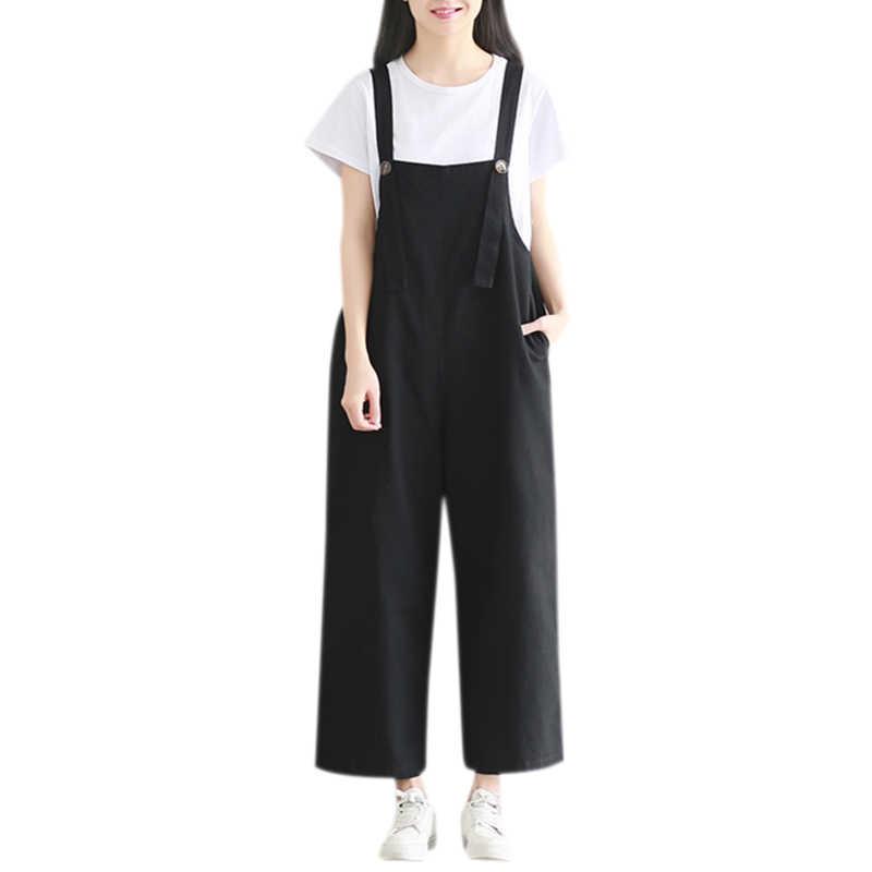 Kobiety Solid Plus Size paski spaghetti kombinezon dorywczo luźne bez rękawów Vintage spodnie haremki z szeroką nogawką ponadgabarytowe kombinezony czarne