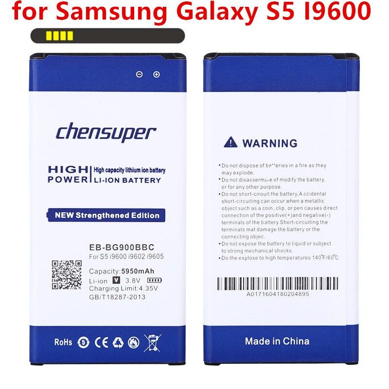 Chensuper 5950 mAh EB-BG900BBC Li-ion Batterie de Téléphone pour Samsung Galaxy S5 I9600 g910L/910 S/910 K/G9006V/G9008V/G9009D/G900