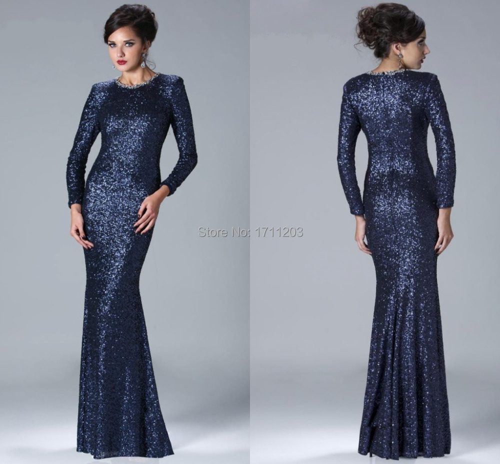 dark blue sequin dress - Dress Yp