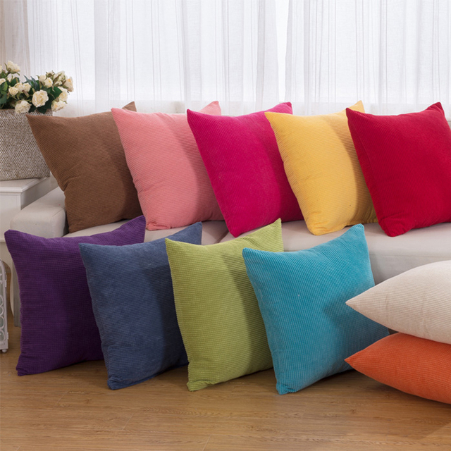 2016 Corduroy Solid Decorative Throw Pillow Cases Soft Couch Pillowcase Outdoor Cushion Cover For Sofa
