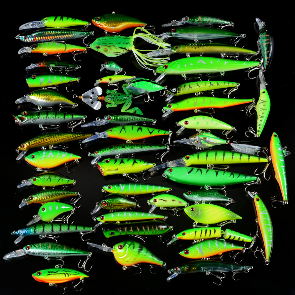 New 50pcs/ Set Fishing Lures Mixed 50 Varisized Minnow/Crank/VIB/Popper Lure and Rubber Soft Bass Spinnerbait Spoon Fish Tackle