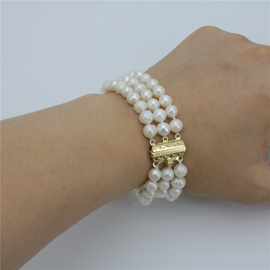 Entre las 3 filas 7-8mm Blanco natural All-match Girl Graceful Freshwater Pearl Pearl Bracelet Beads Mujeres Girl Jewelry Making 7.5inch