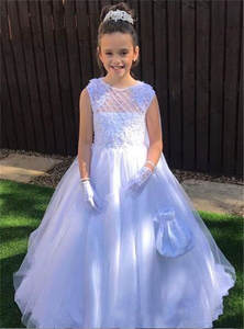 Dress First-Communion-Gowns Flower-Girl Appliques Wedding Sleeveleslx Pure-White Lace