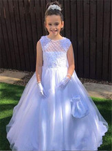 2019 New Pure White Flower Girl Dress For Wedding With Lace Appliques Sparkly Sequins Bow Holy First Communion Gowns SleevelesLX skyyue girl pageant dress appliquie lace flower tulle flower girl s dresses for wedding o neck bow communion gowns 2019 dk2918