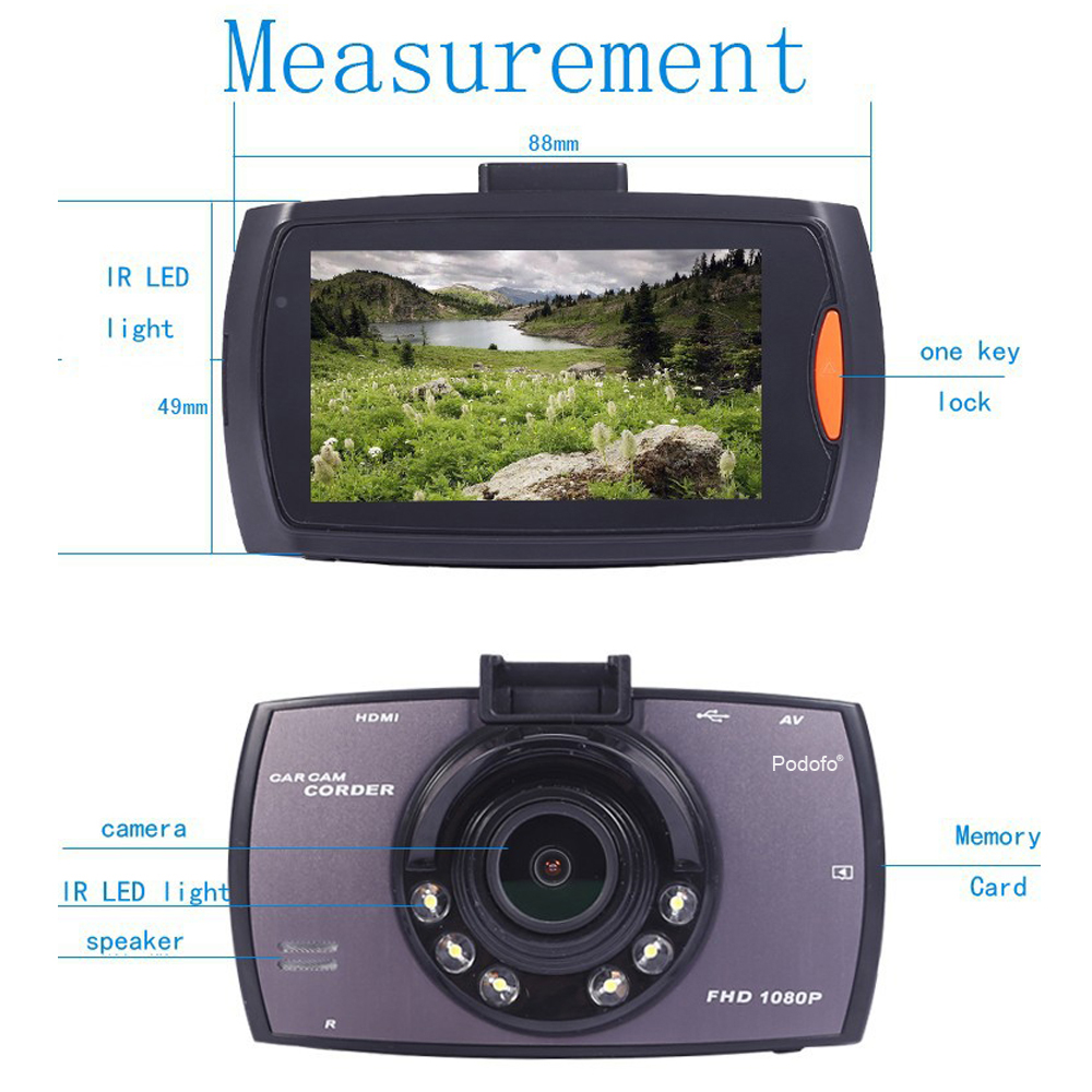 "Podofo Car Camera G30 Full Hd 1080p 2.7"" Car Dvr Driving Recorder + Motion Detection Night Vision G-sensor 32gb Dvrs Dash Cam #4"