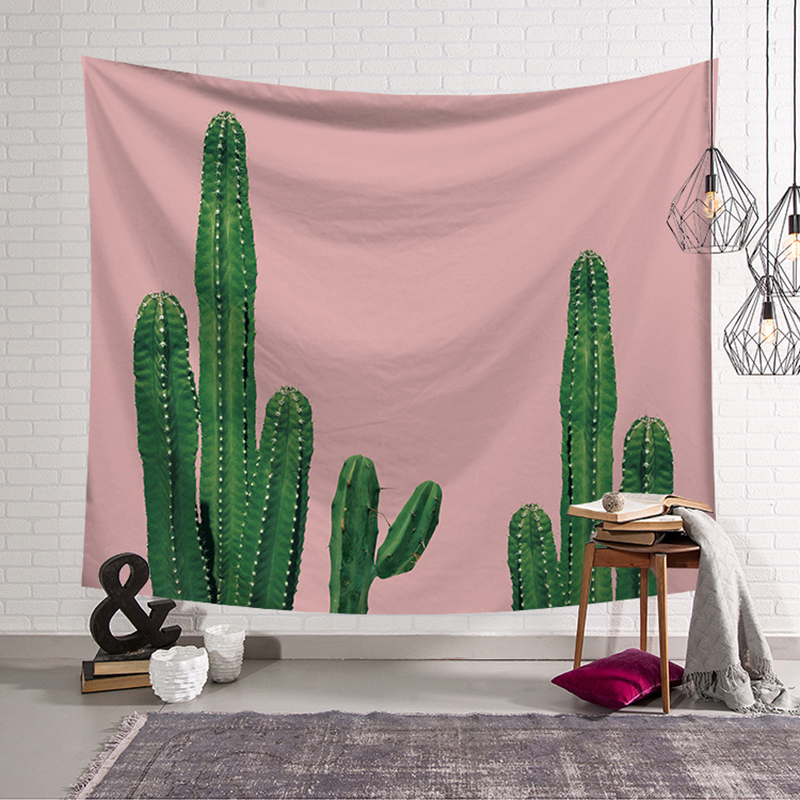 Wall Art Tapestry Green Cactus Watercolor Succulents Plant ...