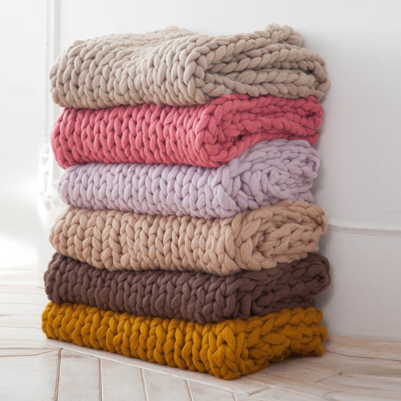Handmade Chunky Knitted Blanket Thick Yarn Merino Wool Bulky Knitted Blanket Warm Winter Sofa Bed Home Decor Throws Blankets knitting