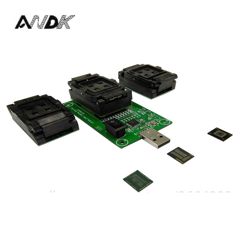 EMMC153 169 EMCP162 186 EMCP221 series socket 3 Functions in 1 USB interface PCB board data recovery programming and test Chips analysis transform pcb board emmc analysis assay plates for test device transforming signal out to the ic in socket