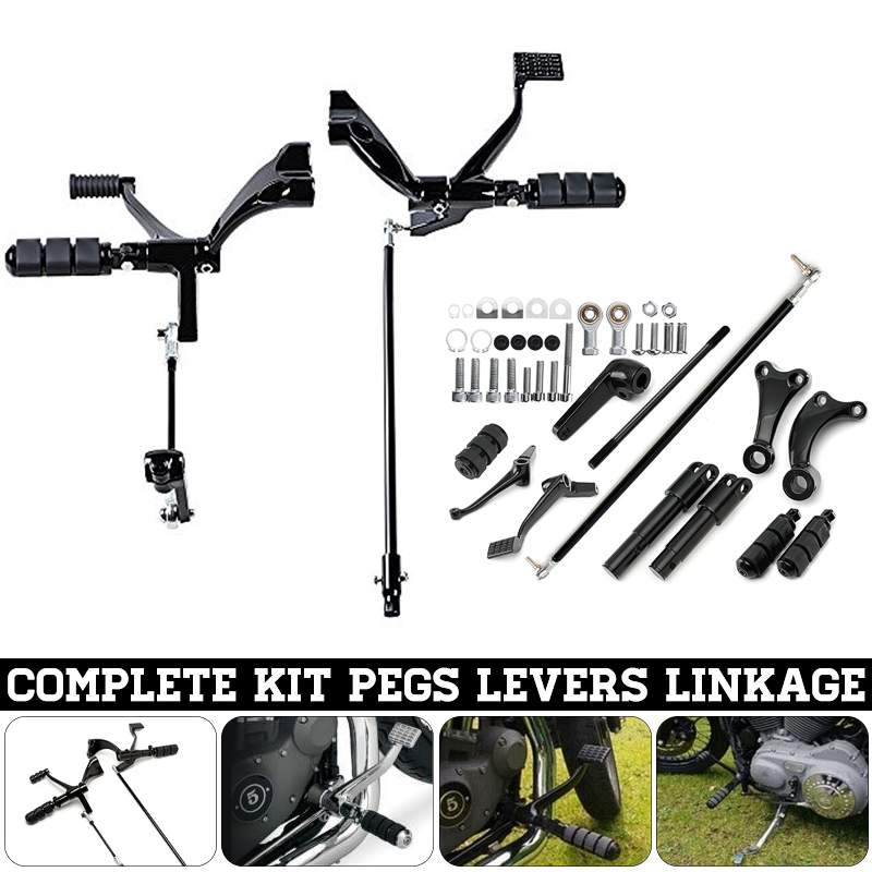 1 Set Black Complete Motorcycle Forward Controls Kits with Pegs Levers For Harley Sportster 883 1200 883R 2004-2013