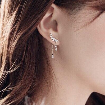 New Tassel Wings Silver Color  Zirconia Drop Earrings For Women Christmas Girls Gift