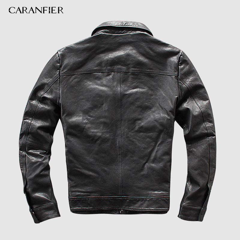CARANFEIR DHL Free Shipping Mens Genuine Leather Jacket New Style Clothes Motor Biker 100% Cowhide Genuine Leather Jackets S-5XL
