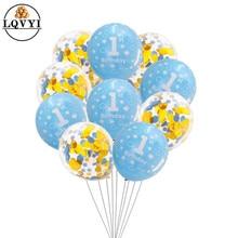 цена 10pcs Baby Shower Boy Girl Latex Balloons Confetti Set 1st Birthday Party Decoration Kids Happy Birthday Balloon 1 Year Globos в интернет-магазинах