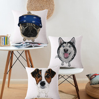 Cute Animals Pet Dog Pattern Cushion Cover For Sofa Home Decor 45X45cm Decorative Throw Pillows Case Wholesale