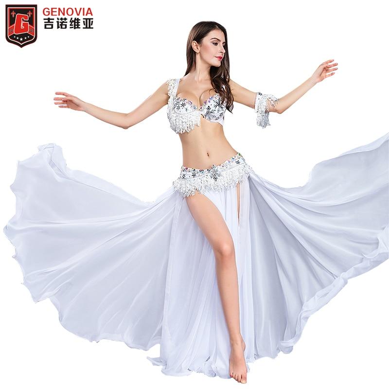performance Dancer s Vitality Women Elegant Belly Dance Costumes 4 piece Suit Bead Bra belt Skirt