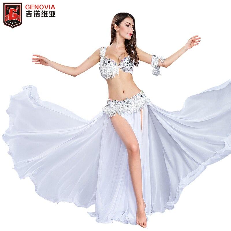 Performance danseur vitalité femmes élégant danse du ventre Costumes 4 pièces costume perle soutien-gorge & ceinture & jupe & bras manches S M L