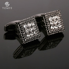 TOMYE Restrained Elegance Cufflinks Black Gun Zircon Square Dress Shirt XK18S375