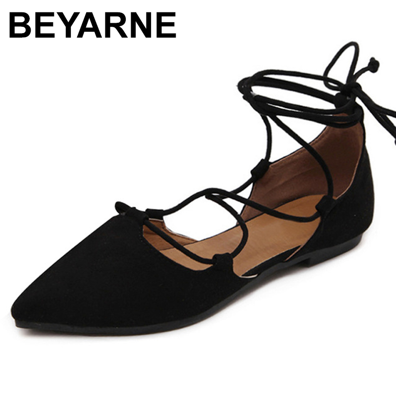 BEYARNE New 2018 Fashion  women Patent Leather rivets women flats shoes Sexy Pointed toe women low heels shoes woman