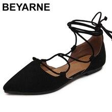 Beyarne新 2018 ファッション女性のパテントレザーリベット女性のフラットシューズセクシーなポインテッドトゥの女性低かかとの靴の女性women flats shoesflats shoeswomen flats