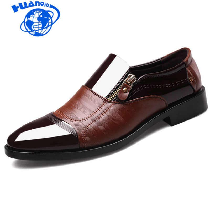 HUANQIU Nieuwe Lente Mode-Business Mannen Schoenen Leer Hoge Kwaliteit Zachte Toevallige Ademende mannen Flats Zip Schoenen Plus size ZLL301