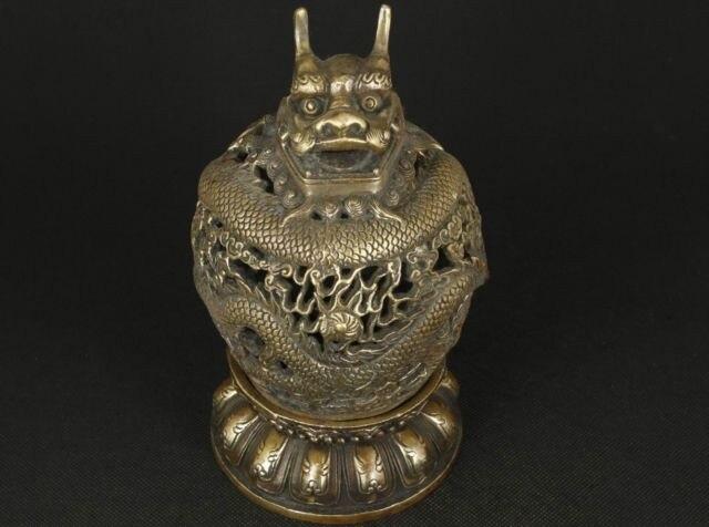 Chinois Vieux Laiton Collection Travail Manuel Coulée Dragon Ornement Brûleur D'encens