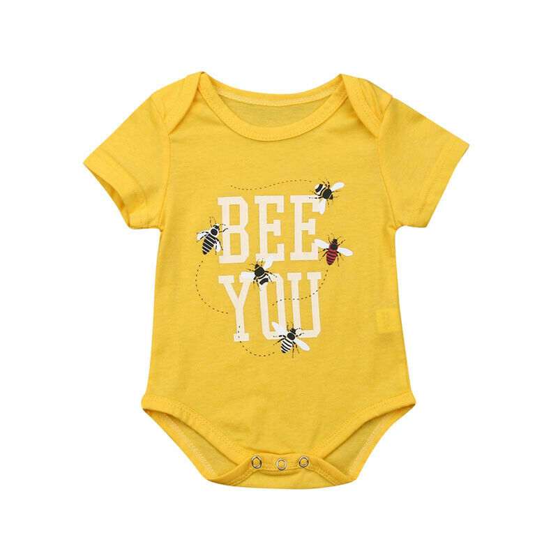 Newborn Baby Boy Girls   Romper   Letter Print Short Sleeve Bee One-pieces Jumpsuit Playsuit Summer Outfits Clothes Yellow