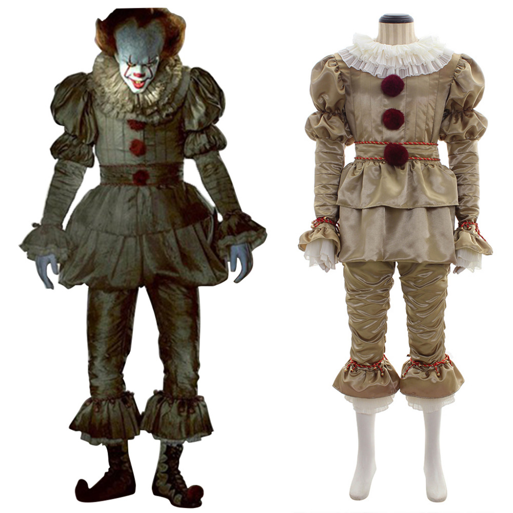 Stephen King's It  2017 Movie Pennywise Halloween Carnival Cosplay Costume Adult Men Golden Version