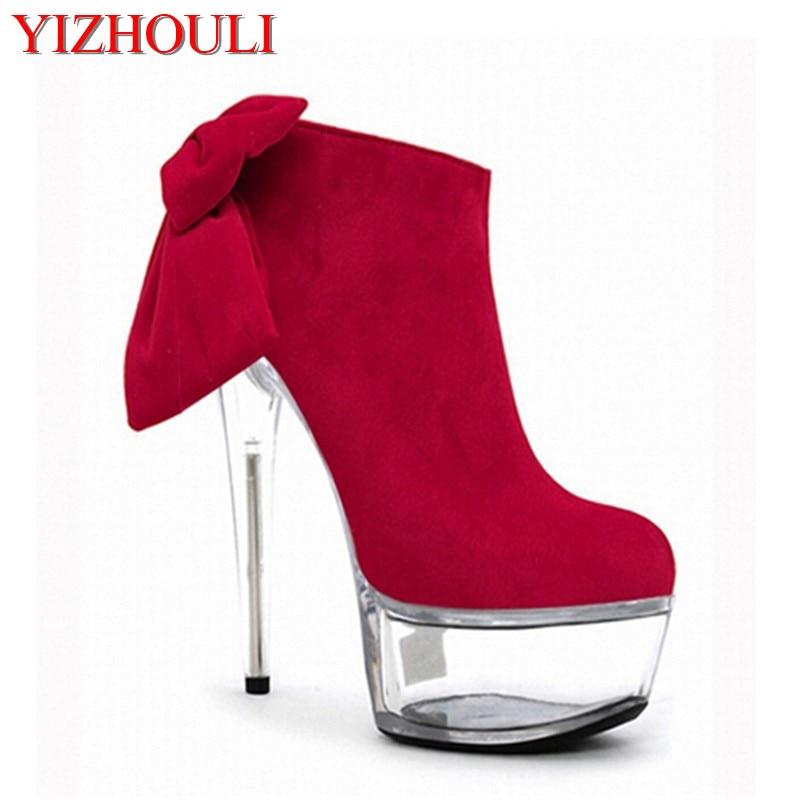 7dba6868f 6 بوصة منصة الجانب سستة الأزياء التمهيد المرأة الأعلى الانحناء الغزال مثير  15 سنتيمتر فائقة قصيرة مارتن الكريستال الأحذية