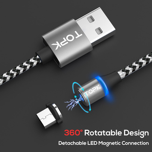 Image 3 - TOPK [5 Pack] RLine R LED Magnetic Micro USB Cable Đối Với Samsung