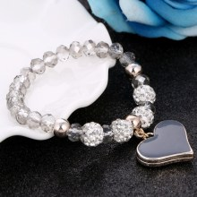 Women Heart Pendant Bracelets with Crystal Beads