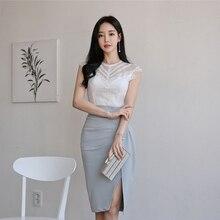 Женские комплекты в Корейском стиле, пуловер с круглым вырезом, без рукавов, белые кружевные топы, до середины икры, разрез сбоку, юбки, повседневный комплект из 2 предметов для женщин
